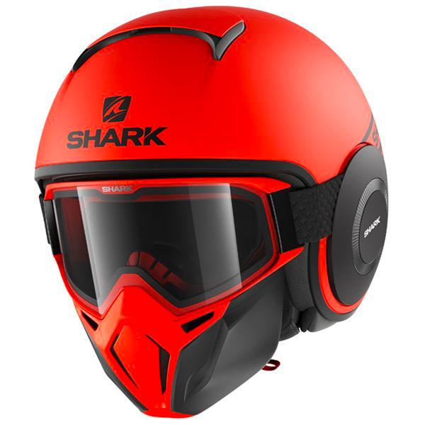 casque shark orange et noir